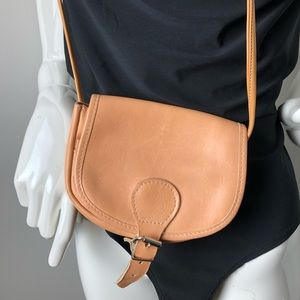 Handbags - Tiny Leather Crossbody Tan Long strap